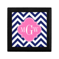 Navy Lg Chevron Hot Pink #2 Quatrefoil 3 Monogram Jewelry Box