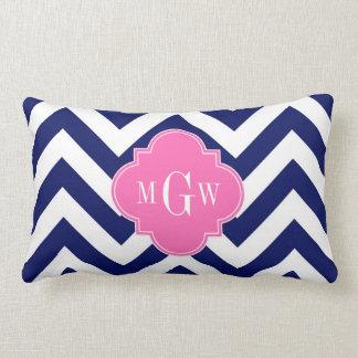 Navy Lg Chevron Hot Pink #2 Quatrefoil 3 Monogram Lumbar Pillow