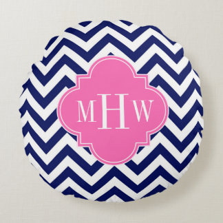 Navy Lg Chevron Hot Pink #2 Quatrefoil 3 Monogram Round Pillow
