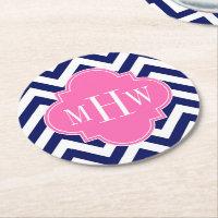 Navy Lg Chevron Hot Pink #2 Quatrefoil 3 Monogram Round Paper Coaster