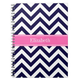 Navy Lg Chevron HotPink2 Quatrefoil Name Monogram Notebook