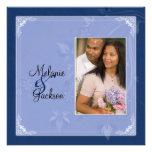 Navy Light Blue Floral Swirls Photo Post Wedding Personalized Invitation