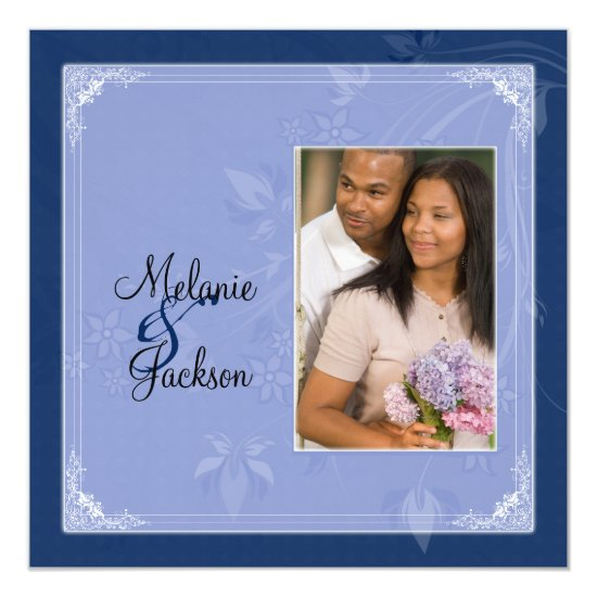 Navy Light Blue Floral Swirls Photo Post Wedding Invitation