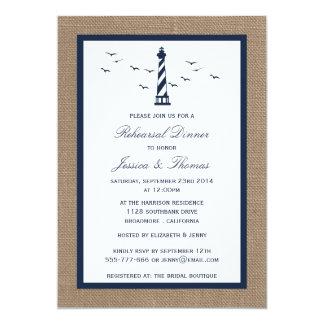 Navy Lighthouse & Burlap Nautical Rehearsal Dinner Card