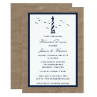 Navy Lighthouse & Burlap Nautical Rehearsal Dinner Invitation