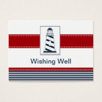 navy ,lighthouse, nautical wishing well card