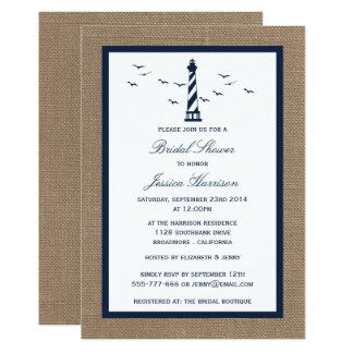 Navy Lighthouse On Burlap Nautical Bridal Shower Card