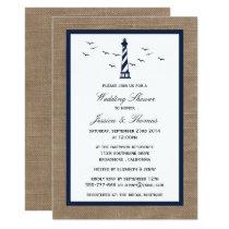 Navy Lighthouse On Burlap Nautical Wedding Shower Invitation