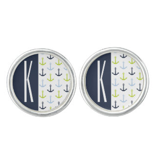 Navy, Lime Green, & Baby Blue Nautical Anchors Cufflinks