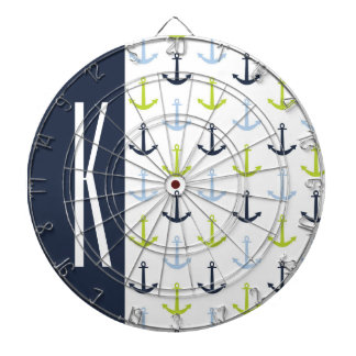 Navy, Lime Green, & Baby Blue Nautical Anchors Dartboard With Darts