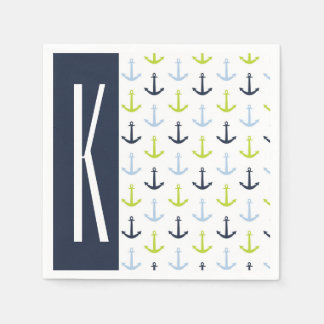 Navy, Lime Green, & Baby Blue Nautical Anchors Napkin
