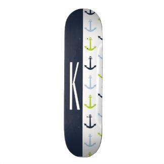 Navy, Lime Green, & Baby Blue Nautical Anchors Skateboard Deck