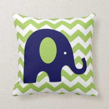 Toddler & Baby themed Navy Lime Green Elephant Nursery Throw Pillow