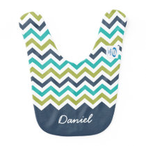 Navy Lime Turquoise Chevron Custom Name Baby Bib