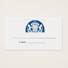 Navy Lions Bar Mitzvah Place Card at Zazzle