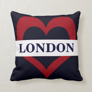 navy London heart throw pillow