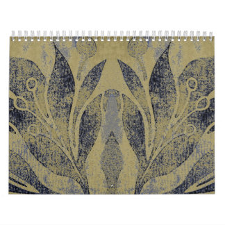 Navy Lotus Flower Grunge Distressed Navy & Taupe Calendar
