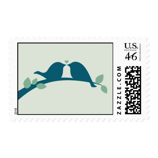 Navy Love Birds Postage Stamps