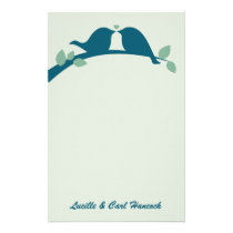 Navy Love Birds Stationery