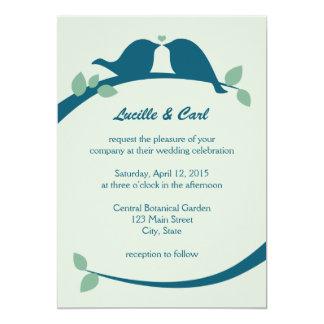 "Navy Love Birds Wedding 5"" X 7"" Invitation Card"