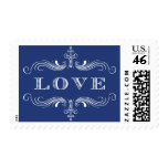 Navy Love Flourish Postage