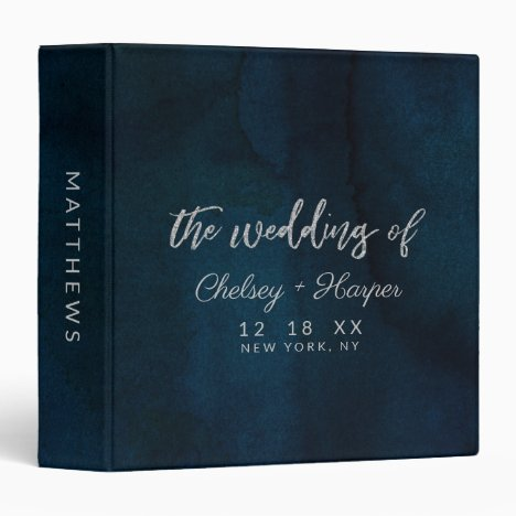 Navy Luster Dark Blue Silver Wedding Photo Album 3 Ring Binder