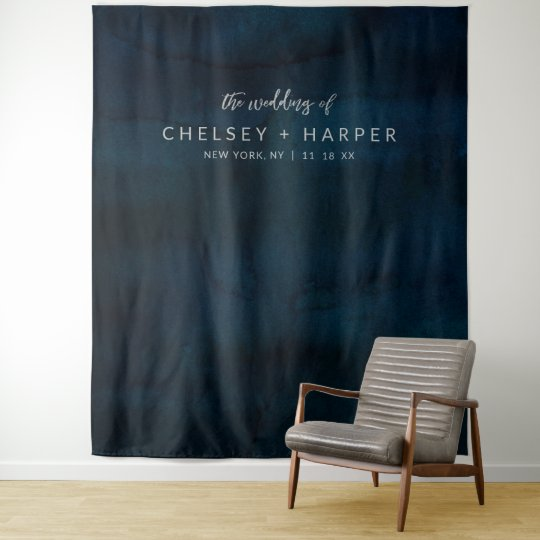 Navy Luster Dark Blue Wedding Photo Booth Backdrop Zazzle Com