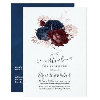 Virtual Wedding Invitations Navy Blue, Maroon, Rose Gold Floral