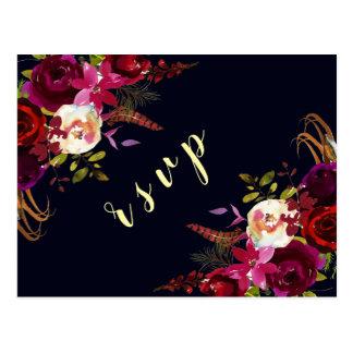 Navy Marsala Boho Floral Autumn Wedding RSVP Postcard