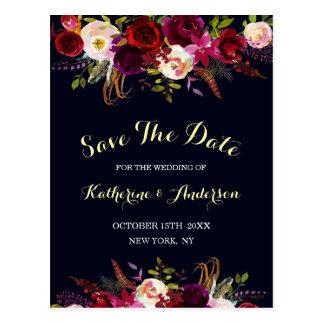 Navy Marsala Boho Floral Wedding Save the Date Postcard