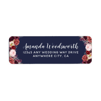 Navy Marsala Fall Peony Wedding Address Labels