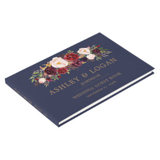Navy Marsala Floral Elegant Wedding Guest Book