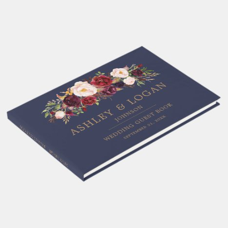 Navy Marsala Floral Elegant Wedding Guest Book