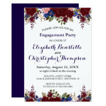 Navy Marsala Floral Engagement Party Invitation