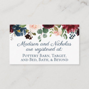registry inserts business cards zazzle