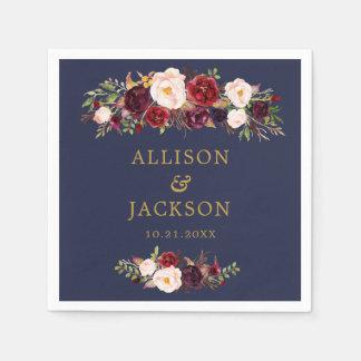 Navy Marsala Gold Flowers Monogram Wedding Napkin