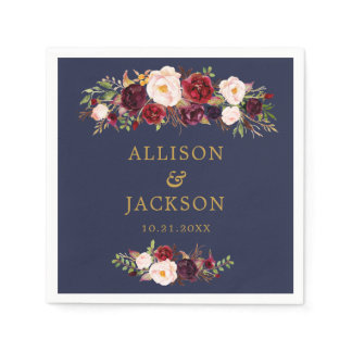 Navy Marsala Gold Flowers Monogram Wedding Napkin