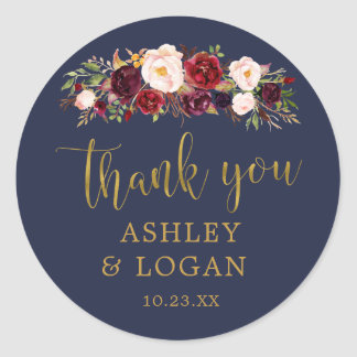 Navy Marsala Gold Flowers Thank You Favor Sticker