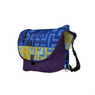 Navy Maze Courier Bag