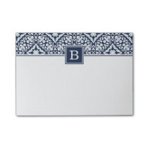 Navy Mediterranean Pattern Monogram Post-it Notes