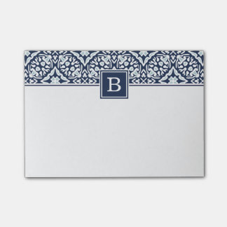 Navy Mediterranean Pattern Monogram Post-it® Notes