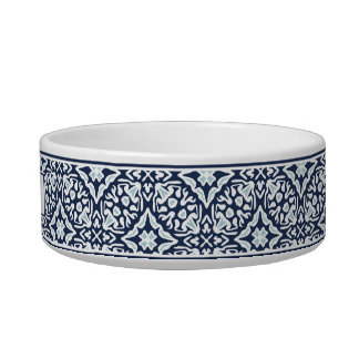 Navy Mediterranean Pattern Pet Bowl