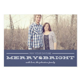 Navy Merry & Bright Christmas Photo Flat Cards