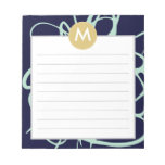 Navy & Mint Brushstrokes Monogram Initial Note Pad
