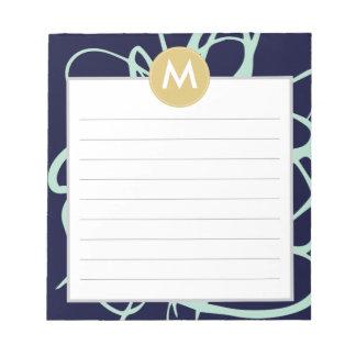 Navy & Mint Brushstrokes Monogram Initial Note Pad