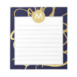 Navy & Mint Brushstrokes Monogram Initial Scratch Pads