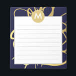 """Navy &amp; Mint Brushstrokes Monogram Initial Notepad<br><div class=""""desc"""">These fabulous Gold Brushstrokes are sure to make a statement - perfect for a chic professional. Originally painted in Japanese ink, Chic Gold Effect are a fabulous &amp; chic way to keep you organized! Great idea for writer and office or teachers gift as well. CUSTOMIZE change or add text: Click...</div>"""