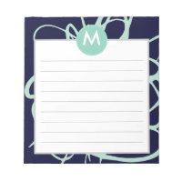 Navy & Mint Brushstrokes Monogram Initial Notepad