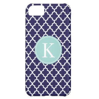 Navy Mint Green Moroccan Monogram | Apple iPhone 5 iPhone 5C Cover