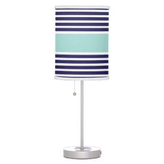 Navy & Mint Green Stripe Pattern Table Lamps